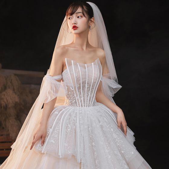 Luksusowe Uroczy Szampan Suknie Ślubne 2020 Suknia Balowa Frezowanie Z Koronki Cekiny Bez Ramiączek Bez Rękawów Bez Pleców Trenem Królewski