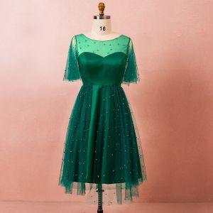 Classic Elegant Dark Green Plus Size Graduation Dresses 2018 U-Neck Tulle A-Line / Princess Backless Beading Homecoming Formal Dresses