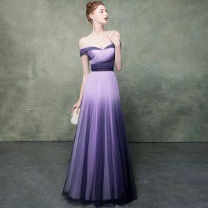 Classy Purple Gradient-Color Lavender Evening Dresses  2019 Empire Off-The-Shoulder Short Sleeve Floor-Length / Long Formal Dresses Backless Ruffle