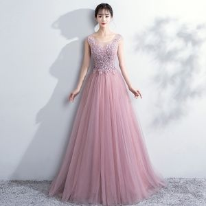 Elegant Blushing Pink Prom Dresses 2018 A-Line / Princess Lace Flower Scoop Neck Backless Sleeveless Floor-Length / Long Formal Dresses