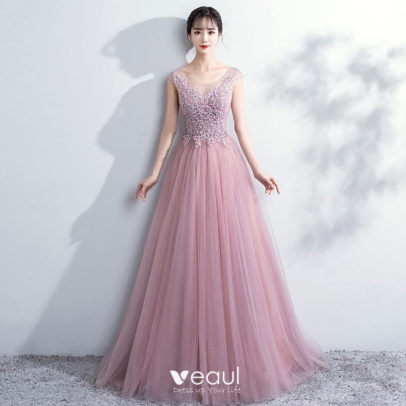 d5f69238c0b Elegant Blushing Pink Prom Dresses 2018 A-Line   Princess Lace Flower Scoop  Neck Backless Sleeveless Floor-Length   Long Formal Dresses