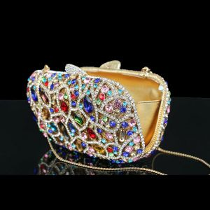 Luxury / Gorgeous Multi-Colors Clutch Bags Beading Crystal Glitter Rhinestone Metal Cocktail Party Evening Party Accessories 2019