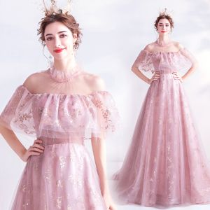 Charming Blushing Pink Prom Dresses 2020 A-Line / Princess High Neck Glitter Beading Crystal Sequins Short Sleeve Backless Sweep Train Formal Dresses