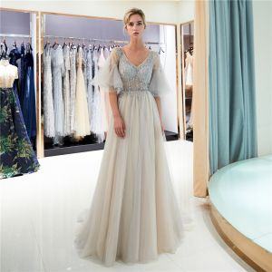 Chic / Beautiful Grey Evening Dresses  2019 A-Line / Princess V-Neck Beading Crystal Sequins Backless Bell sleeves Asymmetrical Formal Dresses