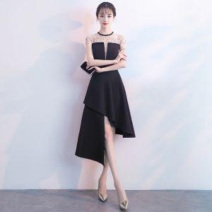 Seksowne Czarne Sukienki Wieczorowe 2018 Princessa Frezowanie Rhinestone Wycięciem Bez Rękawów Krótkie Sukienki Wizytowe