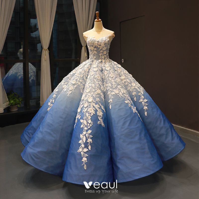 Hada De Las Flores Océano Azul Transparentes Bailando Vestidos De Gala 2020 Ball Gown Scoop Escote Sin Mangas Blanco Apliques Flor Rebordear Largos