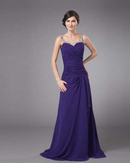 Chiffon Ruffle Beading Round Neck Floor Length Mothers of Bride Guests Dresses