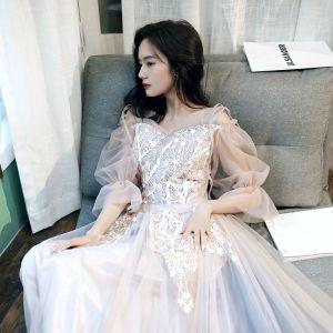 Romantisch Champagner Abendkleider 2020 A Linie Off Shoulder Geschwollenes Lange Ärmel Applikationen Spitze Lange Rüschen Rückenfreies Festliche Kleider
