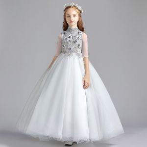 Vintage Gris Vestidos para niñas 2019 A-Line / Princess Cuello Alto 1/2 Ærmer Apliques Con Encaje Perla Largos Ruffle Vestidos para bodas