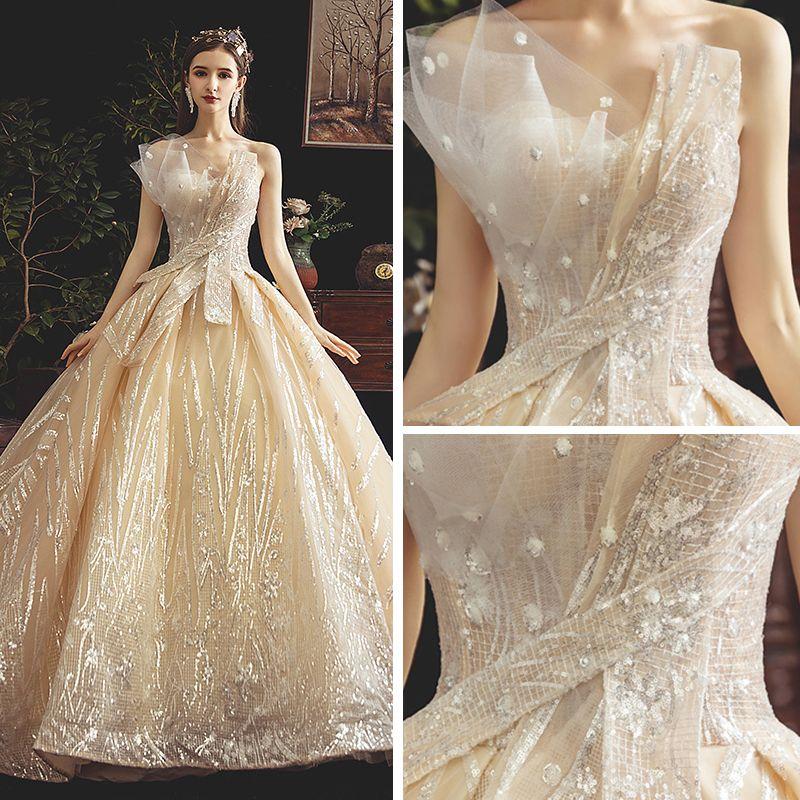 Bling Bling Champagne Wedding Dresses 2019 A-Line / Princess Strapless Sleeveless Backless Glitter Sequins Chapel Train Ruffle