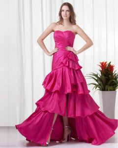 Sweetheart Floor Length Pleated Taffeta Woman Prom Dress