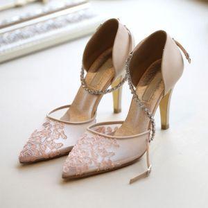 Flotte Perle Pink Gennemsigtig Brudesko 2019 Læder Rhinestone Ankel Strop 8 cm Stiletter Spidse Tå Bryllup Højhælede