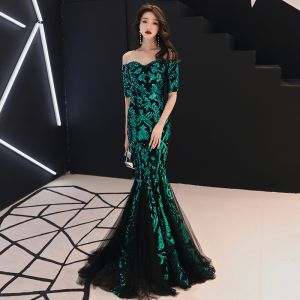 Charming Dark Green Evening Dresses  2018 Trumpet / Mermaid Sequins Off-The-Shoulder Short Sleeve Backless Sweep Train Formal Dresses