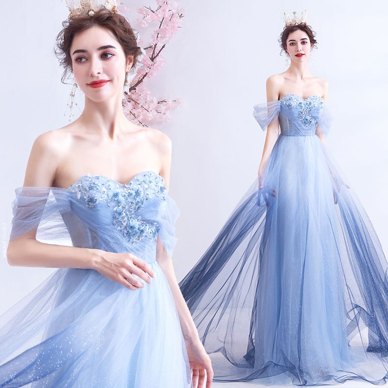 Charming Gradient-Color Sky Blue Evening Dresses  2020 A-Line / Princess Off-The-Shoulder Appliques Beading Crystal Rhinestone Sequins Short Sleeve Backless Floor-Length / Long Formal Dresses