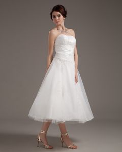Sweetheart Appliques Satin Beach Tea Length Wedding Dresses