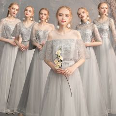 Chic / Beautiful Grey Bridesmaid Dresses 2019 A-Line / Princess Appliques Lace Bow Sash Floor-Length / Long Backless Wedding Party Dresses