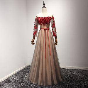 Moderne / Mode Rouge Perle Rose Robe De Soirée 2017 Princesse Longue Volants en Cascade De l'épaule Manches Longues Dos Nu Perlage Cristal Appliques Fleur Ceinture Robe De Ceremonie