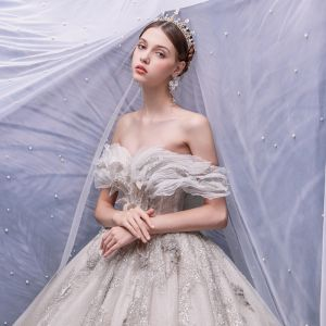 Charming Champagne Bridal Wedding Dresses 2020 Ball Gown Off-The-Shoulder Short Sleeve Backless Beading Appliques Sequins Glitter Tulle Cathedral Train Ruffle