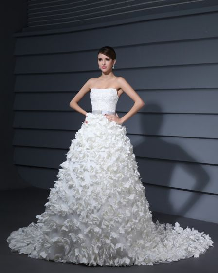 Elegant Satin Organza Strapless Handmade Flower Beading Sweep A-Line Bridal Wedding Dress