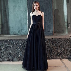 Chic / Beautiful Black Prom Dresses 2018 A-Line / Princess Bow Spotted Spaghetti Straps Backless Sleeveless Floor-Length / Long Formal Dresses
