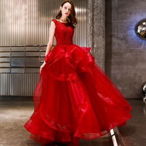 Affordable Red Organza Evening Dresses  2019 A-Line / Princess Scoop Neck Sleeveless Floor-Length / Long Backless Cascading Ruffles Formal Dresses