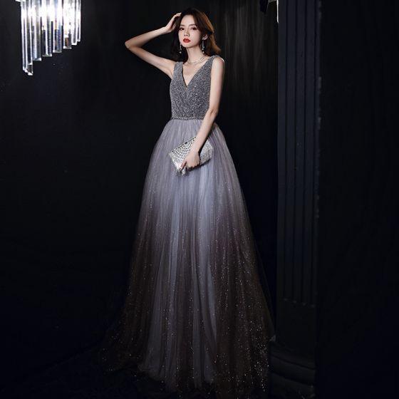 Chic / Beautiful Grey Dancing Prom Dresses 2020 A-Line / Princess V-Neck Sleeveless Sash Beading Glitter Tulle Floor-Length / Long Ruffle Backless Formal Dresses