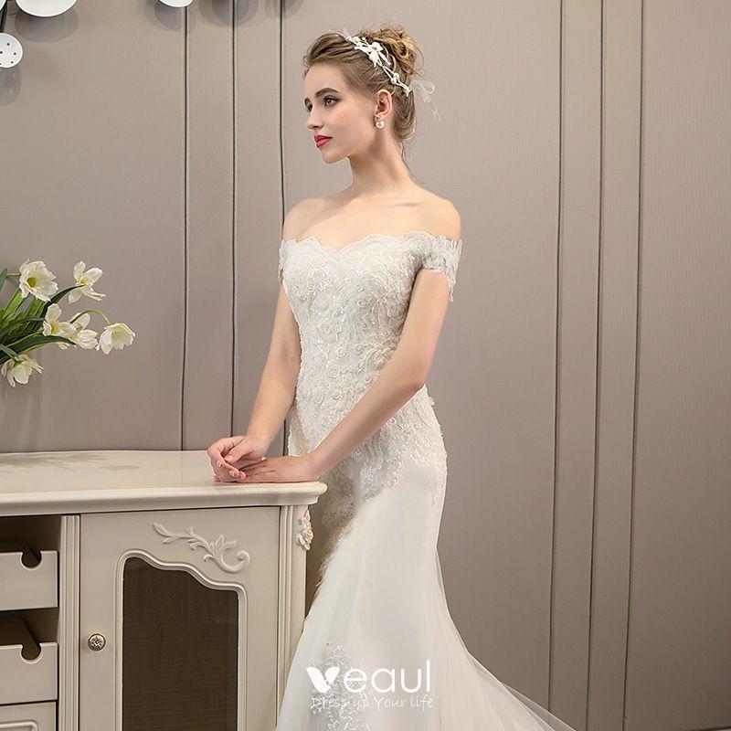 Trumpet Wedding Dresses 2019: Classy Ivory Wedding Dresses 2019 Backless Trumpet