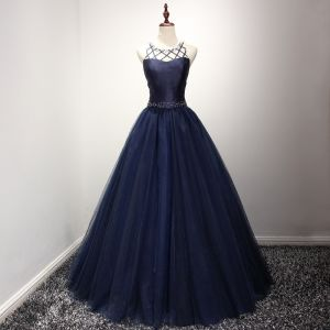 Modern / Fashion Navy Blue Prom Dresses 2017 Scoop Neck Sleeveless Backless Crossed Straps Crystal Pearl Rhinestone Floor-Length / Long Ball Gown Ruffle Pierced Formal Dresses