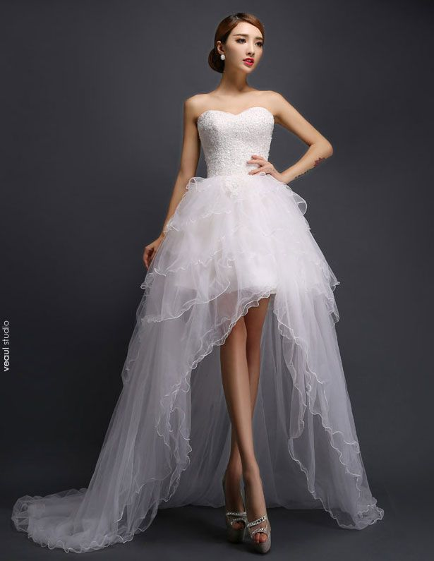 2015 A-line Short & Mini Sweetheart Asymmetrical Tulle Wedding Dress