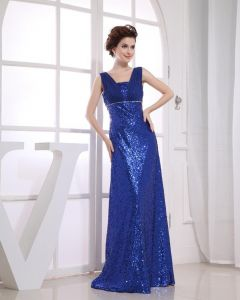 Chiffon Sequins Portrait Sleeveless Zipper Floor Length Prom Dress