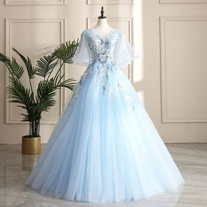 Classy Sky Blue Prom Dresses 2019 A-Line / Princess V-Neck Pearl Sequins Lace Flower Short Sleeve Backless Floor-Length / Long Formal Dresses