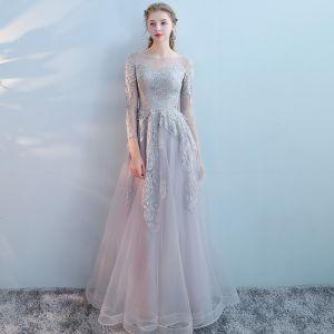 Moda Gris Vestidos de noche 2017 A-Line / Princess Scoop Escote Manga Larga Apliques Con Encaje Rhinestone Largos Sin Espalda Traspasado Vestidos Formales