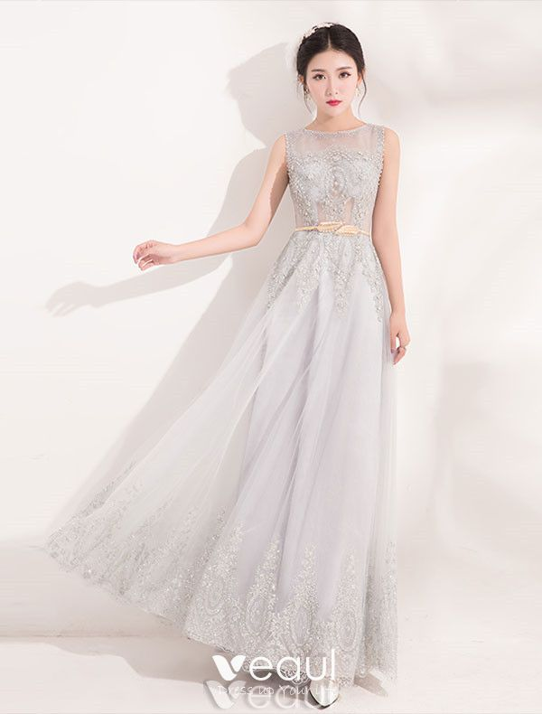 Elegant Long Evening Dress With Sequins Blue Tulle Dress With Sash