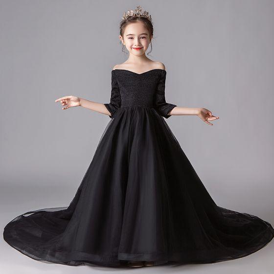 Proste / Simple Czarne Sukienki Dla Dziewczynek 2019 Princessa Przy Ramieniu 3/4 Rękawy Cekinami Poliester Trenem Kaplica Wzburzyć Bez Pleców Sukienki Na Wesele