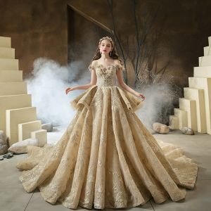 High-end Champagne Bridal Wedding Dresses 2020 Ball Gown Off-The-Shoulder Short Sleeve Backless Beading Appliques Lace Glitter Tulle Cathedral Train Ruffle