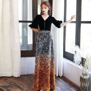 Chic / Beautiful Black Gradient-Color Orange Sequins Evening Dresses  2020 A-Line / Princess V-Neck Puffy 1/2 Sleeves Floor-Length / Long Backless Formal Dresses