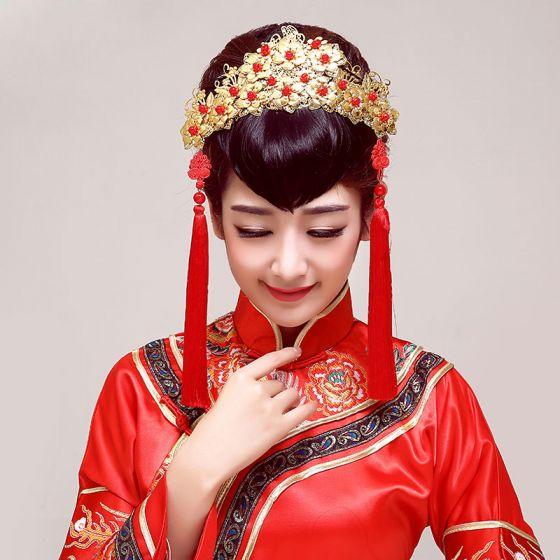 Klassisk Kinesisk Stil Brude Hodeplagg / Hode Blomst / Bryllup Har Tilbehør / Bryllup Smykker
