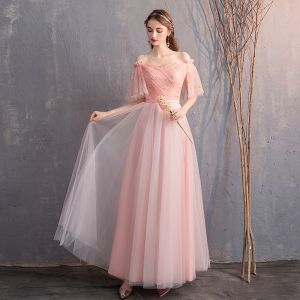Discount Pearl Pink Bridesmaid Dresses 2019 A-Line / Princess Off-The-Shoulder 1/2 Sleeves Glitter Tulle Sash Floor-Length / Long Ruffle Backless Wedding Party Dresses