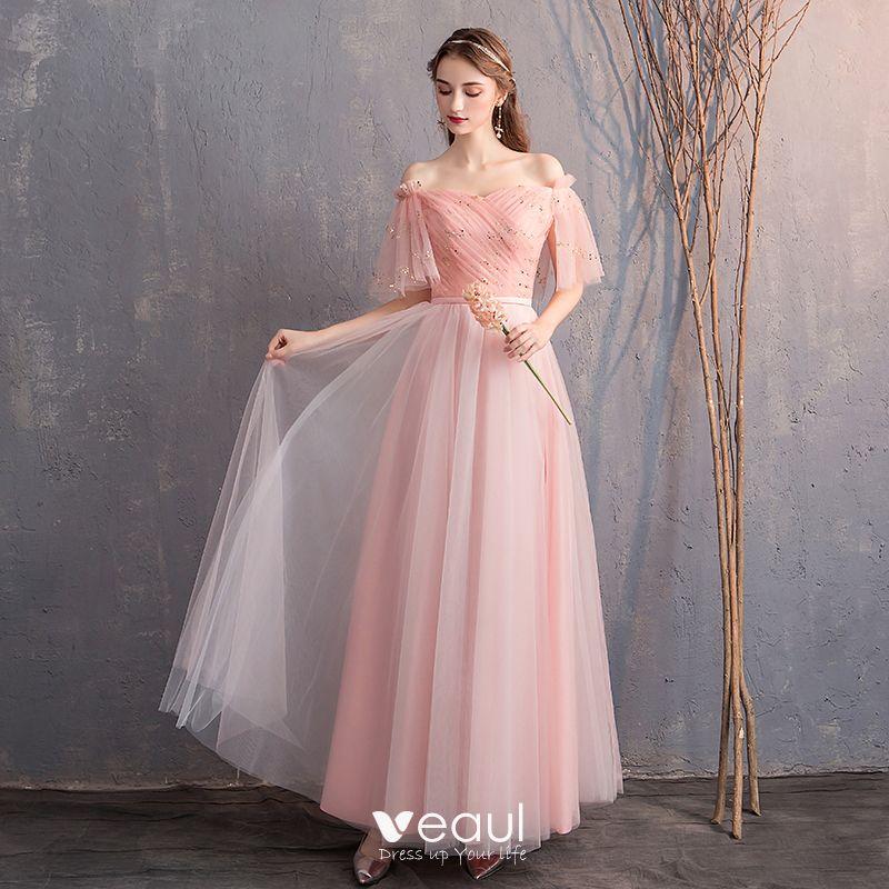ce9a4e79b2 Discount Pearl Pink Bridesmaid Dresses 2019 A-Line / Princess Off ...