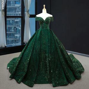 Sparkly Dark Green Sequins Red Carpet Evening Dresses  2020 A-Line / Princess Off-The-Shoulder Short Sleeve Chapel Train Backless Formal Dresses