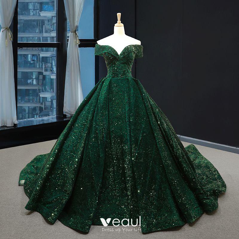 Sparkly Dark Green Sequins Red Carpet Evening Dresses 2020 A,Line /  Princess Off,The,Shoulder Short Sleeve Chapel Train Backless Formal Dresses
