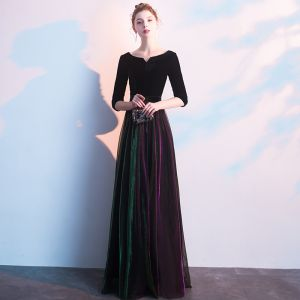 Elegant Black Evening Dresses  2019 A-Line / Princess Scoop Neck Suede 1/2 Sleeves Floor-Length / Long Formal Dresses