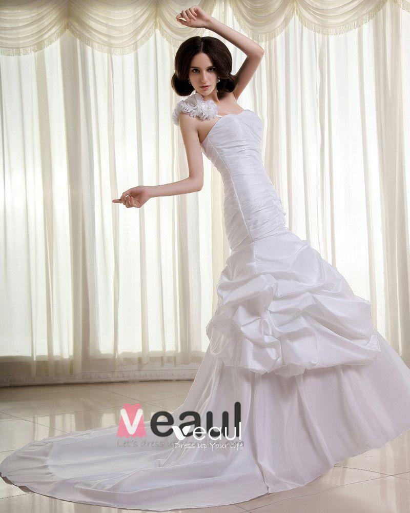Ruffles Taffeta One Shoulder Cathedral Train Sheath Wedding Dress