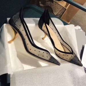 Charming Black Cocktail Party Leather Pumps 2020 Spotted 6 cm Stiletto Heels Pointed Toe Pumps