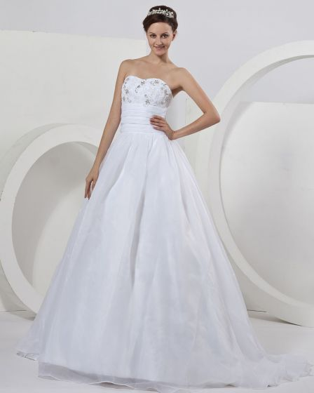 OrganzaApplique Sweetheart Beading Floor Length Ball Gown Wedding Dress
