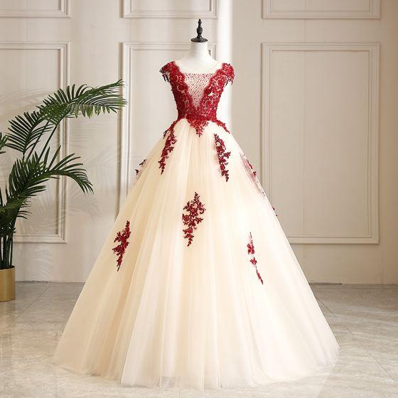 Elegante Champagner Ballkleider 2019 A Linie Rundhalsausschnitt Perlenstickerei Kristall Spitze Blumen Ärmellos Rückenfreies Lange Festliche Kleider
