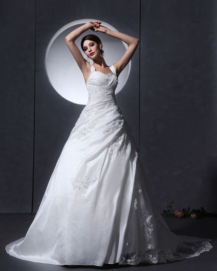 Taffeta Tulle Ruffle Applique Baldric Chapel A-Line Bridal Gown Wedding Dresses