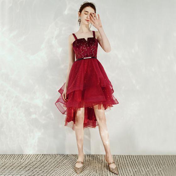 Fashion Burgundy Homecoming Graduation Dresses 2020 A-Line / Princess Suede Spaghetti Straps Star Sequins Rhinestone Sash Sleeveless Backless Asymmetrical Formal Dresses
