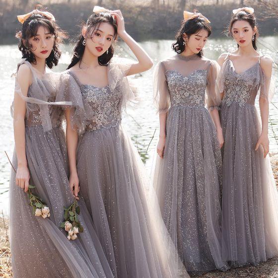 Fashion Grey Bridesmaid Dresses 2021 A-Line / Princess Scoop Neck Beading Rhinestone Sequins Lace Flower Short Sleeve Backless Floor-Length / Long Bridesmaid Wedding Party Dresses