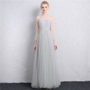 Modest / Simple Grey See-through Bridesmaid Dresses 2019 A-Line / Princess Square Neckline Puffy 3/4 Sleeve Floor-Length / Long Ruffle Backless Wedding Party Dresses